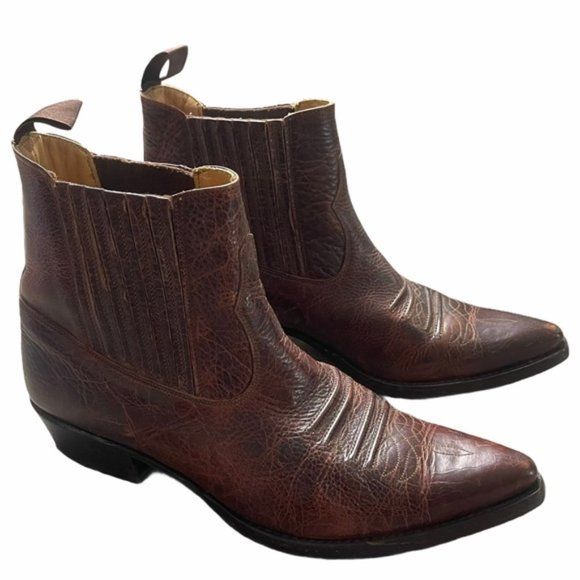 SANCHO Cowboy Brown/Red Leather Boots Size 42 EUC